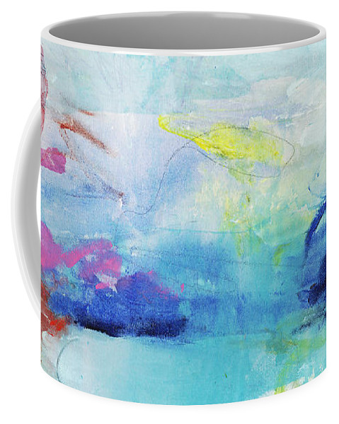 Abstract Coffee Mug featuring the painting Somewhere Else by Claire Desjardins