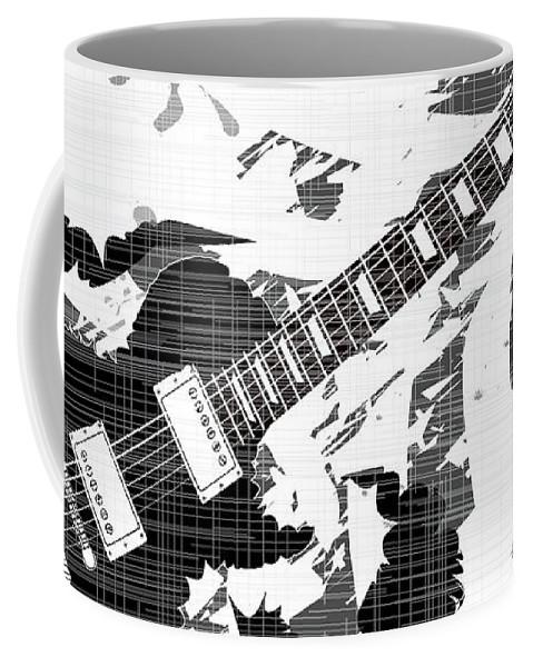 Guitar Coffee Mug featuring the digital art Splatter Guitar by Bigalbaloo Stock