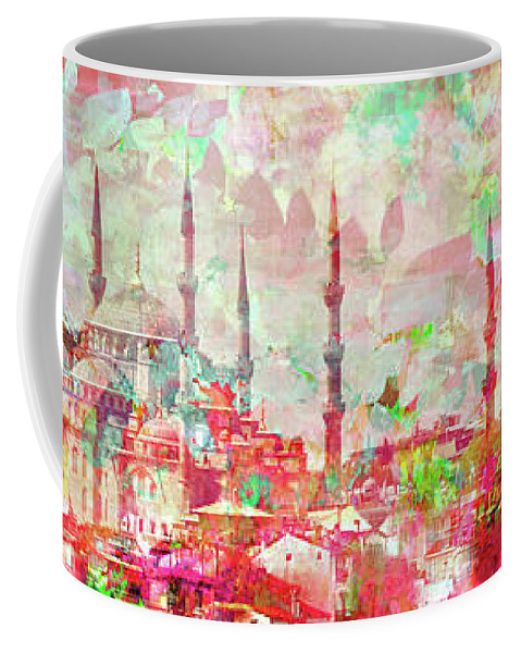 Abstract Coffee Mug featuring the mixed media Spring Around The World by Ginette Callaway