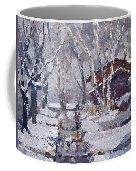 Snoe Coffee Mug featuring the painting Spring Snow by Ylli Haruni