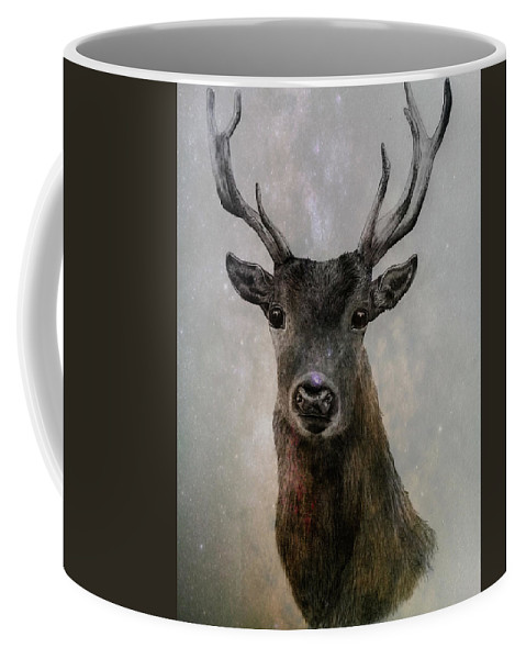 Stag Drawing Animal Deer Antlers Coffee Mug featuring the drawing Stag by Amber Willis