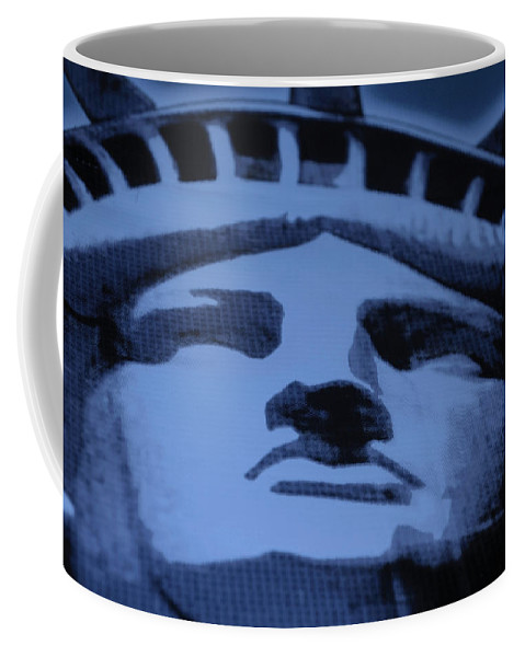 Statue Of Liberty Coffee Mug featuring the photograph Statue Of Liberty In Cyan by Rob Hans