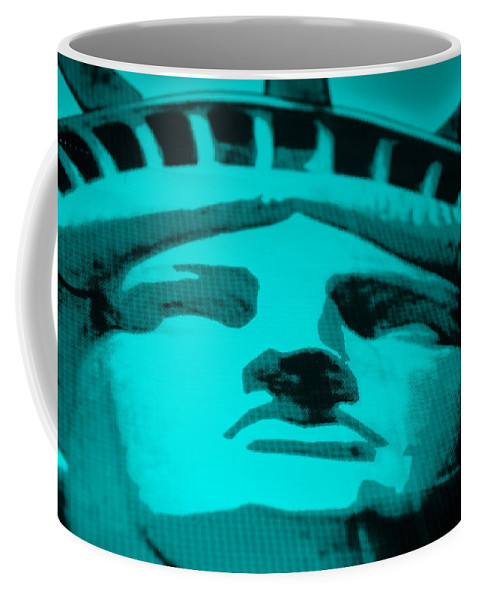 Statue Of Liberty Coffee Mug featuring the photograph Statue Of Liberty In Turquois by Rob Hans