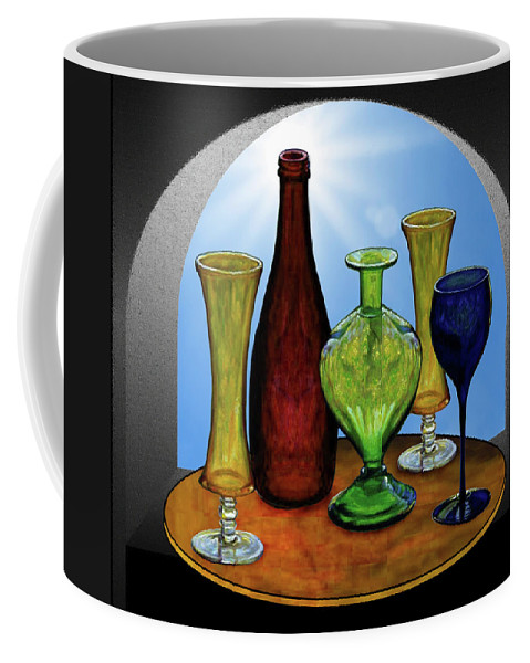 Still Life Coffee Mug featuring the painting Still Life with Bottles by Hugo Heikenwaelder