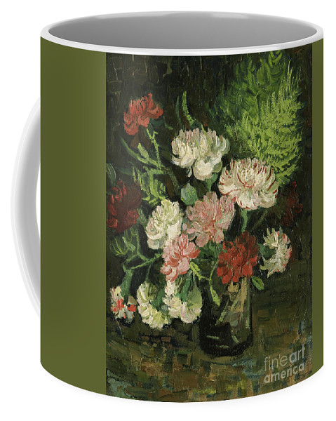 Vincent Van Gogh Coffee Mug featuring the painting Still Life With Carnations, 1886 by Vincent Van Gogh