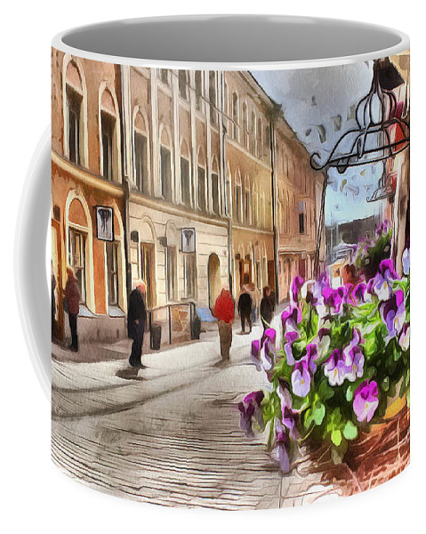 Street Helsinki Finland City Coffee Mug featuring the mixed media street Helsinki Finland by Yury Bashkin