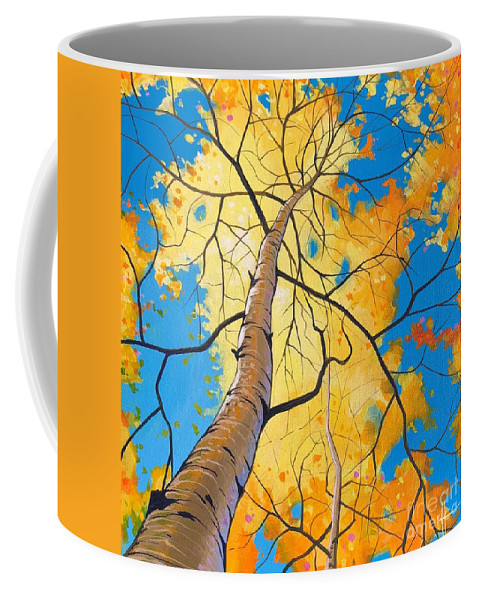 Aspen Coffee Mug featuring the painting Summer Moved On by Hunter Jay