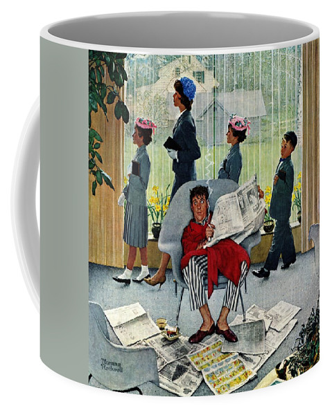 Church Coffee Mug featuring the drawing Sunday Morning by Norman Rockwell