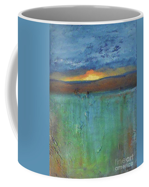 Abstract Landscape Coffee Mug featuring the painting Sunset - Abstract Landscape Painting by Vesna Antic