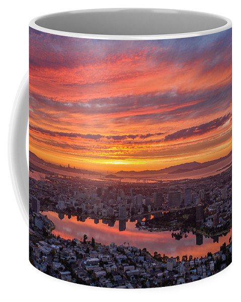 Oakland Coffee Mug featuring the photograph Sunset Explosion Over Lake Merritt by Sky High Oakland