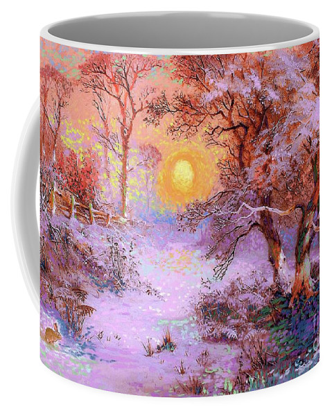 Sun Coffee Mug featuring the painting Sunset Snow by Jane Small