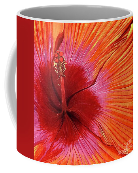 Hibiscus Coffee Mug featuring the painting Tequila Sunrise by Hunter Jay