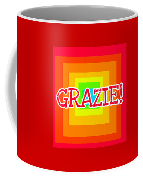 Red Coffee Mug featuring the digital art Thank You by Paola Baroni