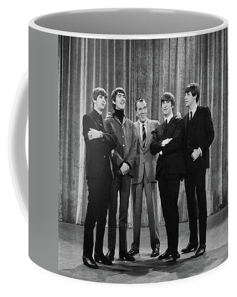 The Beatles Coffee Mug featuring the photograph the beatles and ed sullivan - February, 1964 by Mountain Dreams