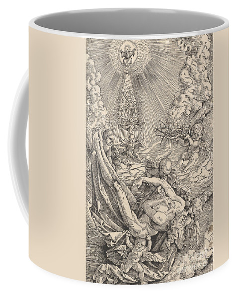 Christian Art Coffee Mug featuring the drawing The Body Of Christ Carried By Angels Towards Heaven, 1516 by Hans Baldung Grien