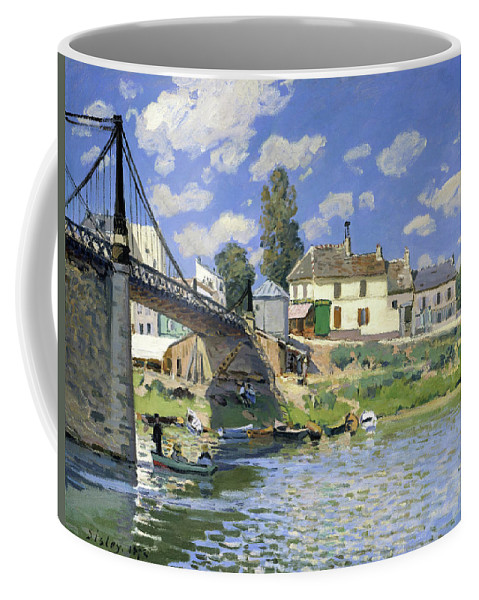 Alfred Sisley Coffee Mug featuring the painting The Bridge At Villeneuve-la-garenne - Digital Remastered Edition by Alfred Sisley