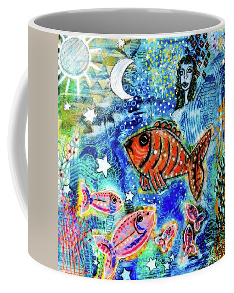 Star Coffee Mug featuring the mixed media The Day The Stars Fell Into The Ocean by Mimulux patricia No