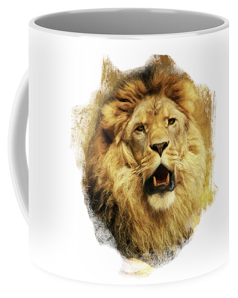 Lion Coffee Mug featuring the digital art The King by Angela Doelling AD DESIGN Photo and PhotoArt