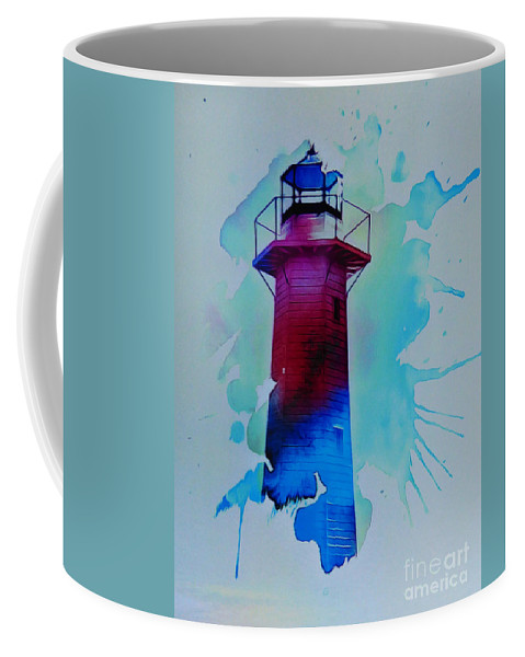 The Lighthouse. This Image Was Created By Adding A Digital Application To My Original Photo Resulting In A Contemporary Semi-abstract Finish. Coffee Mug featuring the digital art The Lighthouse by Trudee Hunter