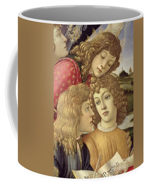 Sandro Botticelli Coffee Mug featuring the painting The Madonna Of The Magnificat, Detail Of Three Boys, 1482 by Sandro Botticelli