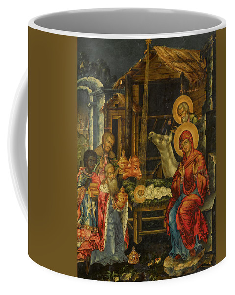 The Nativity Coffee Mug featuring the painting The Nativity, Russia, 1848 by Russian Art