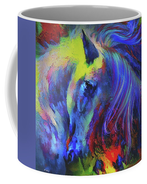 Painted Pony Coffee Mug featuring the mixed media The Painted Pony by G Berry