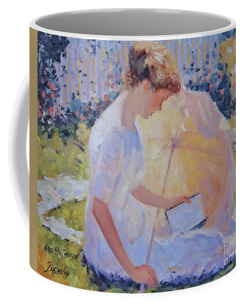 Frank W. Benson Coffee Mug featuring the painting The Reader by Laura Lee Zanghetti