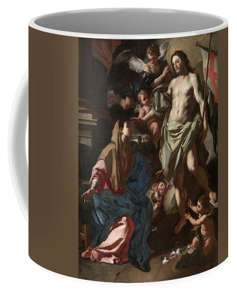 Francesco Solimena Coffee Mug featuring the painting The Risen Christ Appearing To The Virgin, 1708 by Francesco Solimena