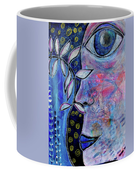 Seer Coffee Mug featuring the mixed media The Seer by Mimulux patricia No