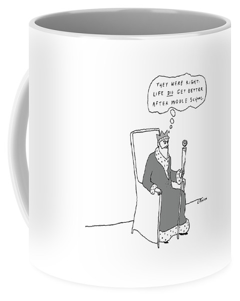 King Coffee Mug featuring the drawing They Were Right by Liana Finck