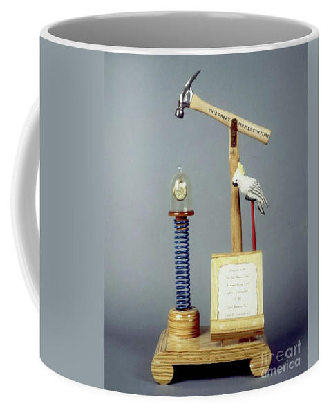 Czappa Coffee Mug featuring the sculpture This Great Moment In Time by Bill Czappa