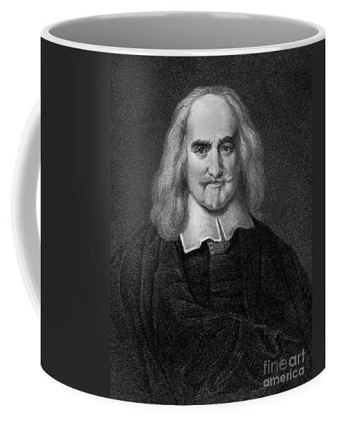 Historical Coffee Mug featuring the drawing Thomas Hobbes English Philosopher, Engraving by European School