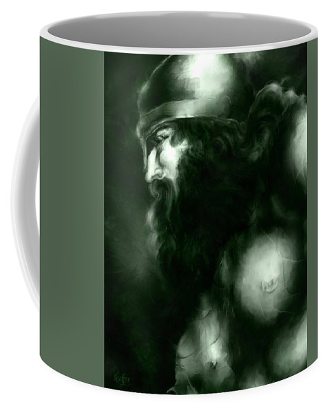 Thor Coffee Mug featuring the mixed media Thor by Curtiss Shaffer