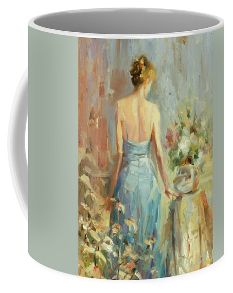 Woman Coffee Mug featuring the painting Thoughtful by Steve Henderson