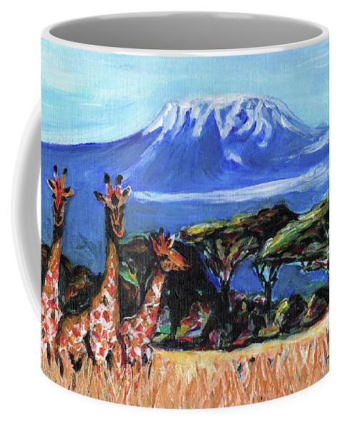 Everett Spruill Coffee Mug featuring the painting Three Giraffes by Everett Spruill