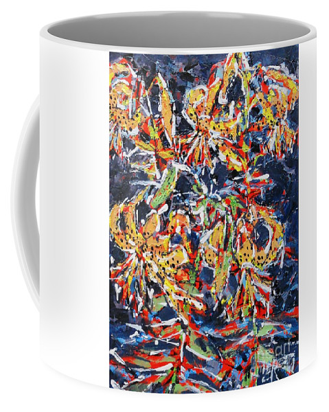 Lilies Coffee Mug featuring the painting Tiger Lilies At Night by Larry Lerew