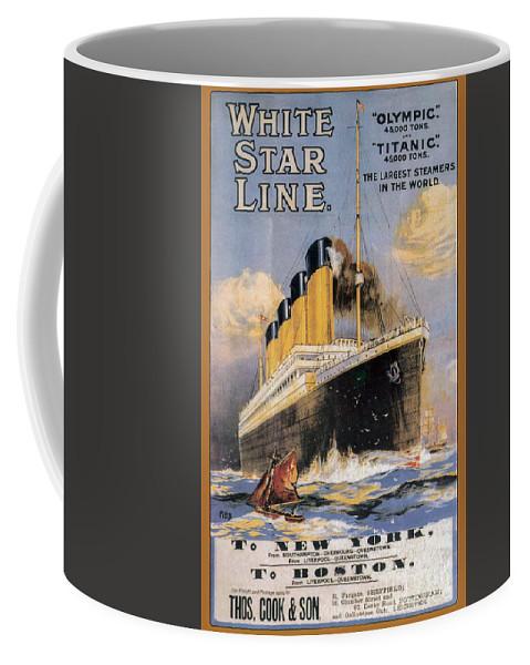 Titanic Advertising Poster Coffee Mug featuring the photograph Titanic Advertising Poster by Jon Neidert