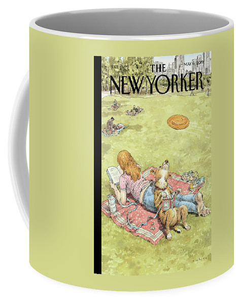 To Fetch Or Not To Fetch Coffee Mug featuring the painting To Fetch Or Not To Fetch by John Cuneo