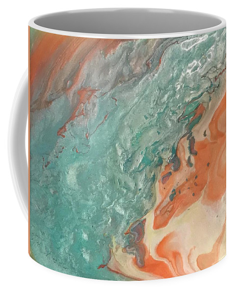 Abstract Acrylic Pour Coffee Mug featuring the painting Toes In The Sand by Kelly Hogue