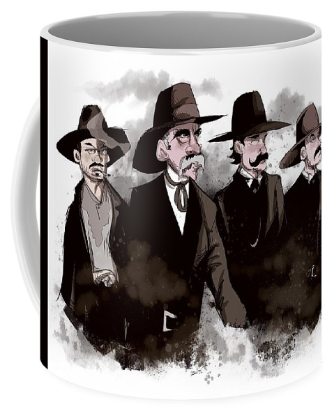 Doc Coffee Mug featuring the drawing Tombstone by Ludwig Van Bacon