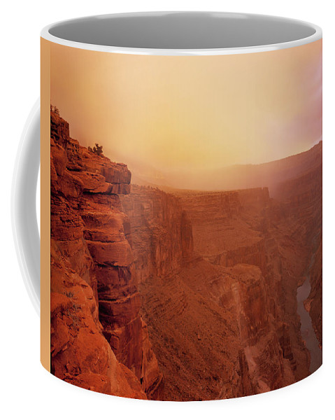 Grand Canyon Coffee Mug featuring the photograph Toroweap Overlook Storm Sunrise by Leland D Howard