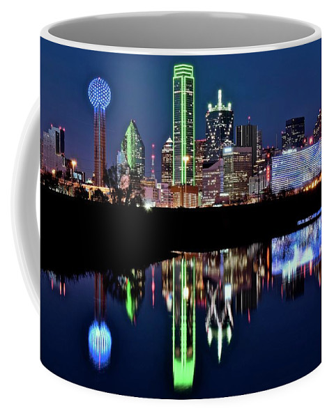 Dallas Coffee Mug featuring the photograph Towering Over Dallas by Frozen in Time Fine Art Photography