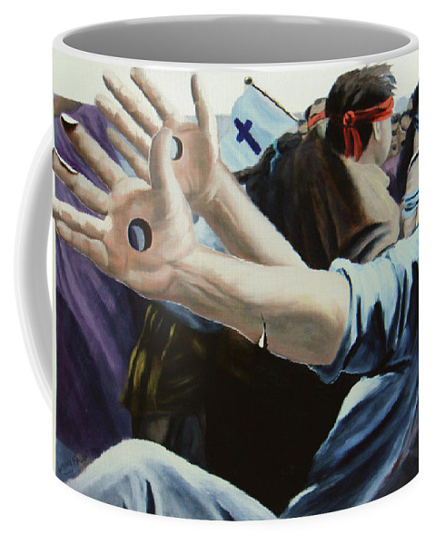Surreal Painting Coffee Mug featuring the painting Trails Of The Tribulation by Anthony Falbo