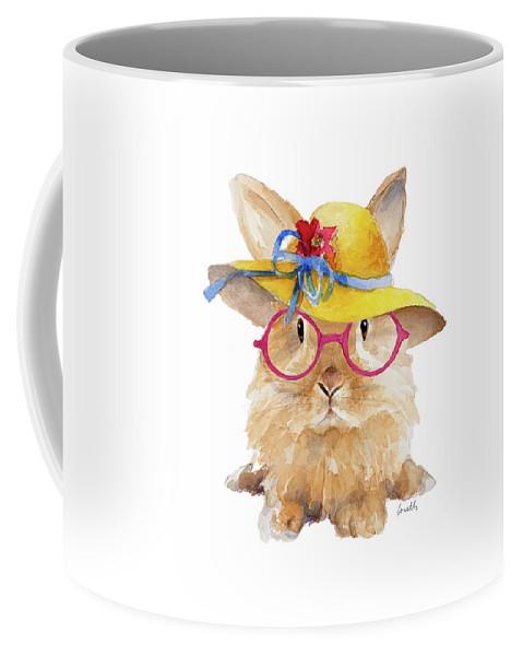 Trendy Coffee Mug featuring the mixed media Trendy Meadow Buddy IIi (round Glasses) by Lanie Loreth