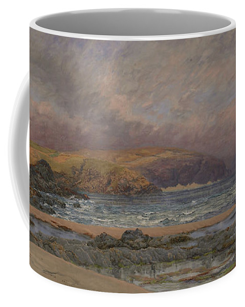 Seascape Coffee Mug featuring the painting Trevose Head by John Brett
