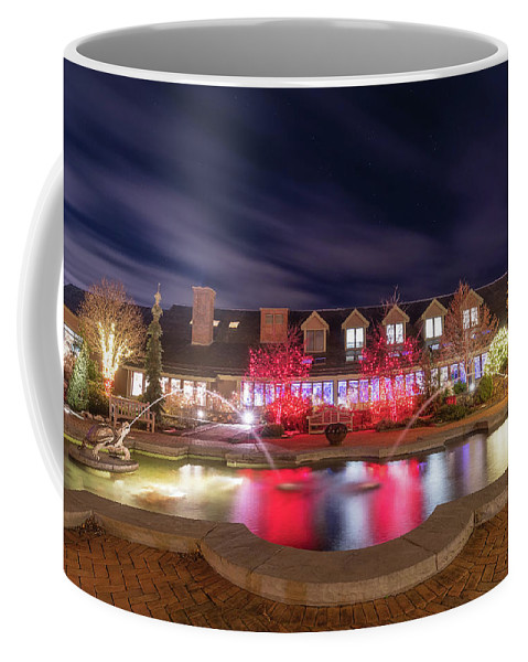 Turtle Fountain Reflection Christmas Holiday Lights Night Sky Outside Outdoors Ma Mass Massachusetts Brian Hale Brianhalephoto Stars Clouds Coffee Mug featuring the photograph Twin Turtles Twinkling by Brian Hale
