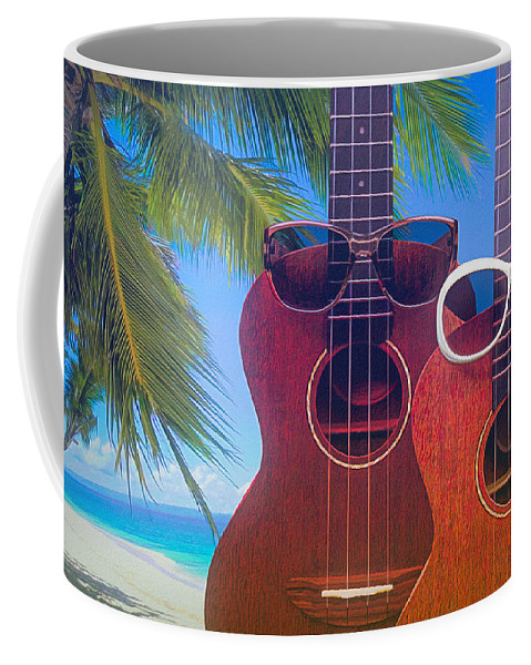 Hawaiian Coffee Mug featuring the photograph Ukes On The Beach by Tom Mc Nemar