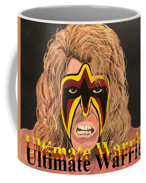 Ultimate Warrior Coffee Mug featuring the painting Ultimate Warrior Writing Version by Chris Dippel