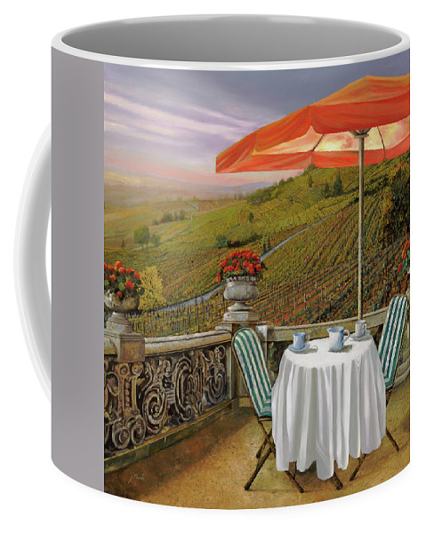 Vineyard Coffee Mug featuring the painting Un Caffe' Nelle Vigne by Guido Borelli
