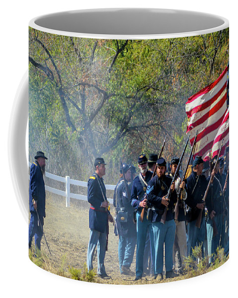 Union Coffee Mug featuring the photograph Union Infantry Advance by Tommy Anderson